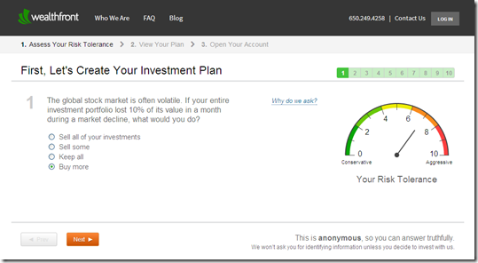 Wealthfront 10-question risk profile