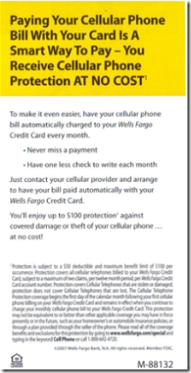 BACK: Wells Fargo credit card insert on cellphone protection