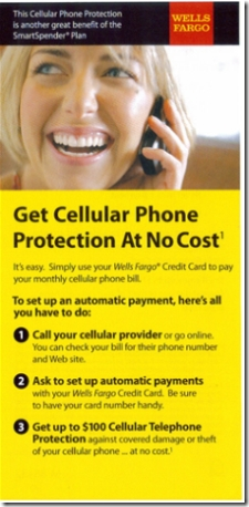 FRONT: Wells Fargo credit card insert touting cellphone protection