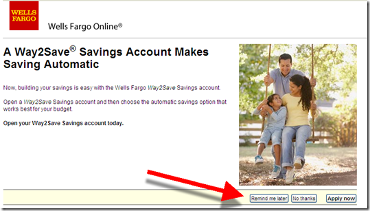 Wells Fargo interstitial login ad for Way2Save