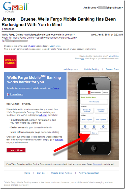 Wells Fargo email to customers announcing its redesigned mobile banking site, WF.com (5 Jan 2011)