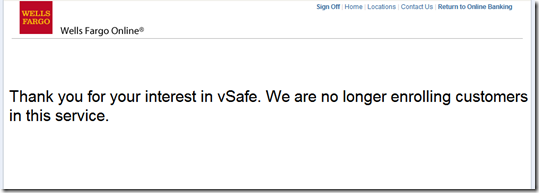 Wells Fargo vSafe service closure message