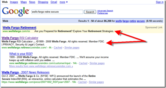 "Google results for ""Wells Fargo retire secure"""