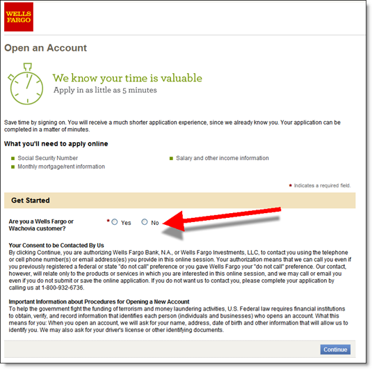 Wells Fargo's credit card application asks one question in step 1 (
