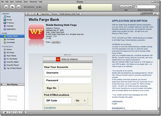 Wells Fargo app in the iTunes App Store