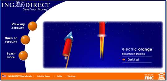 ING Direct homepage with july 4th theme (2 July 2008)