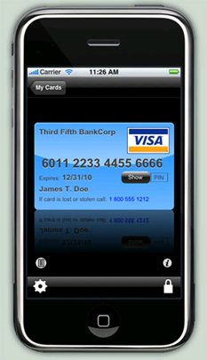 Ilium iPhone eWallet showing credit card info