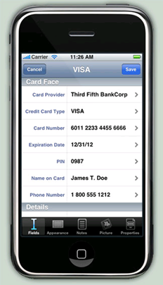 eWallet showing credit card detail
