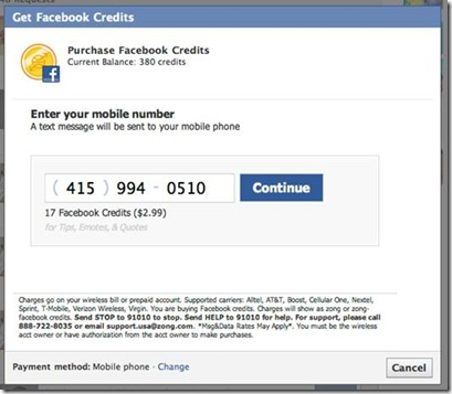 Step 2: Using Zong to purchase Facebook credits