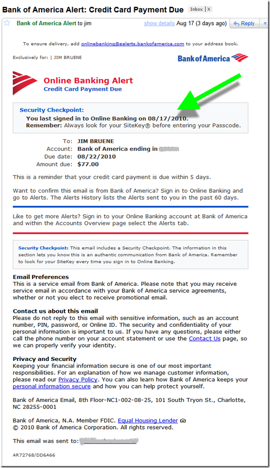 Bank Of America Email Alert With New Security Checkpoint