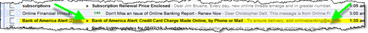 Bank of America email alert preview in Gmail