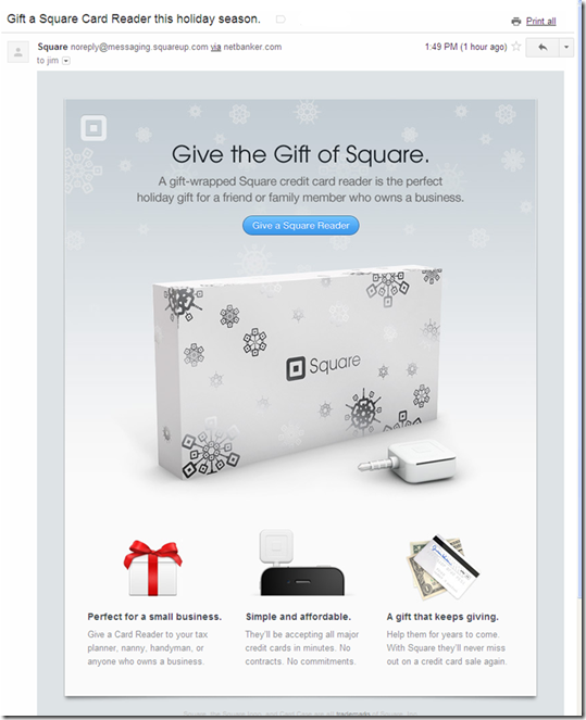 "Email from square promoting the ""gift of square"""