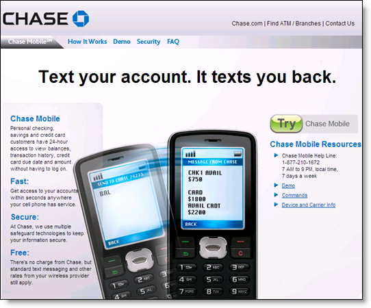 Chase Bank Text Mobile banking