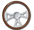 "29510-CROSS-18"" Wood steering wheel with Cross Design. Fits Freightliner Classic, FLD, Century, fixed/adjustable column (1989-present) 18"""