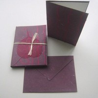 Plum & Red Thread Notecard and Envelope Set image