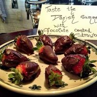 Chocolate coated the strawberries  image