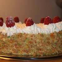 Sponge cake with vanilla cream and soft fruit image