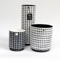 Paper prints on wooden base pots image