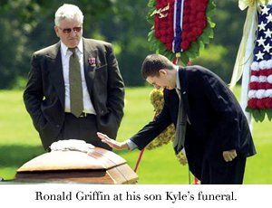 Ronald Griffin at his son Kyle's funeral.