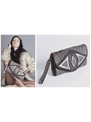 Gray Rose Clutch