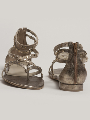 Metallic Strappy Flat