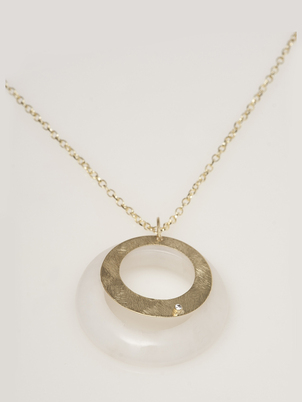 Necklace - Dolomite and gold circle pendent