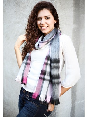 Plaid Blue Scarf