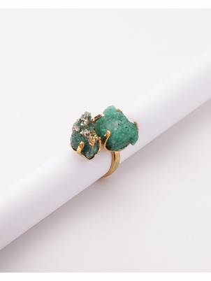 Adjustable Emerald Mama Ring