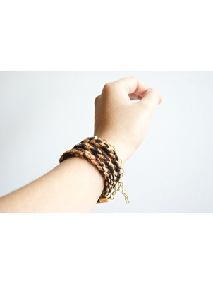 Handmade Braid Wrap Rust Bracelet