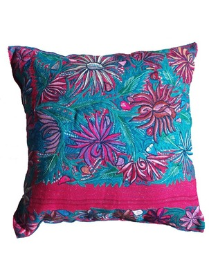 Flower Blossom Blue Chiapas Pillow
