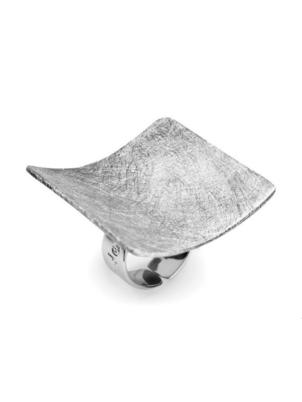Adjustable Silver Square Ring
