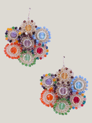 Handmade Beaded Flower Signature Earrings