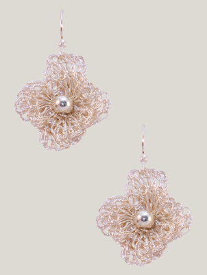 Handmade Pearl Flower Earrings