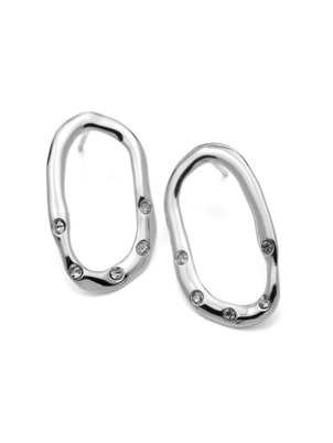 Silver Shiny Oval Earrings