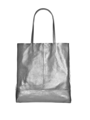 Leather Tote Bag Silver