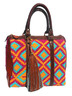 Handmade Colorful Grid and Leather Wayuu Handbag