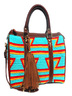Handmade Turquoise and Leather Wayuu Handbag