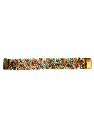 Handmade Silver Multicolored Beads Bracelet