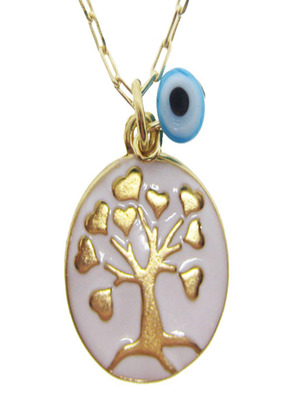 Enamel Tree Of Life Chain Necklace White