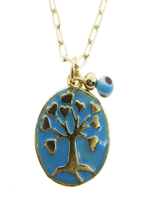 Enamel Tree Of Life Chain Necklace Turquoise