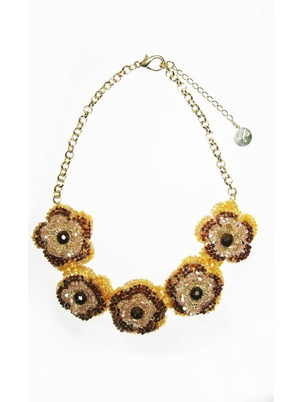 Handmade Beaded Flowers Necklace