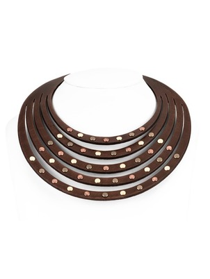 Necklace - Brown Leather Rivets