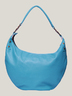 Turquoise Leather Half Moon Bag