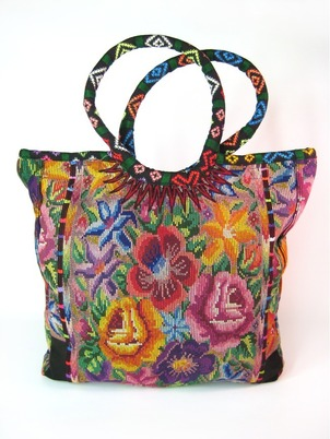 Floral Needlepoint Shopping Tote Rainbow