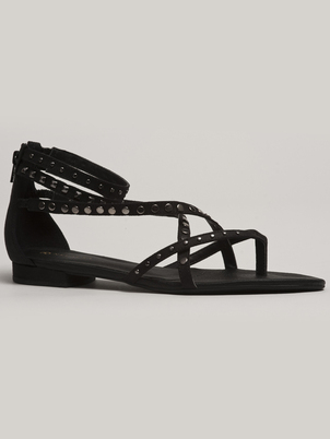 Black Strappy Flat