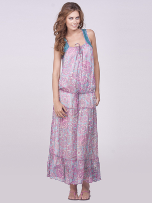 Lilac Silk Maxi Dress Cover Up