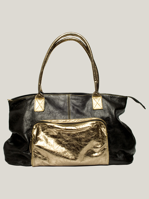 Black and Gold Leather Bag
