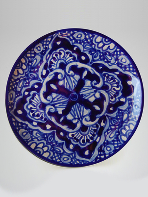Navy Floral Plate