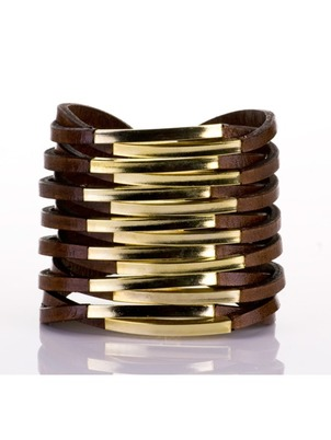 Cuff - Twisted Brown Leather