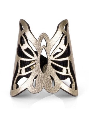 Cuff - Gold Button Butterfly